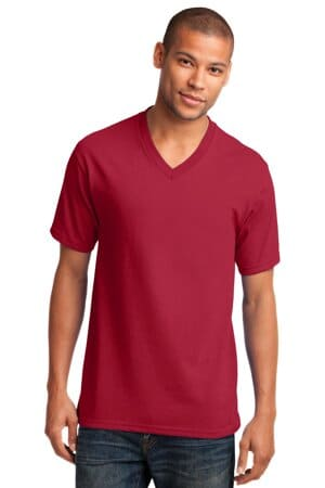PC54V port & company core cotton v-neck tee pc54v