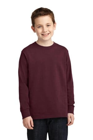 port & company youth long sleeve core cotton tee pc54yls
