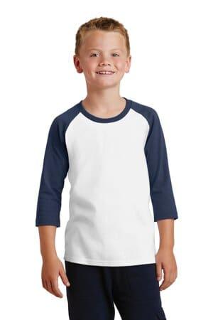 port & company youth core blend 3/4-sleeve raglan tee pc55yrs