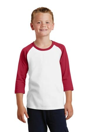 port & company youth core blend 3/4-sleeve raglan tee pc55yrs