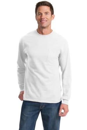 port & company tall long sleeve essential pocket tee pc61lspt