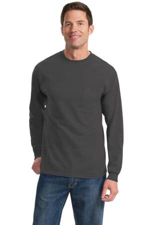 port & company-long sleeve essential pocket tee pc61lsp