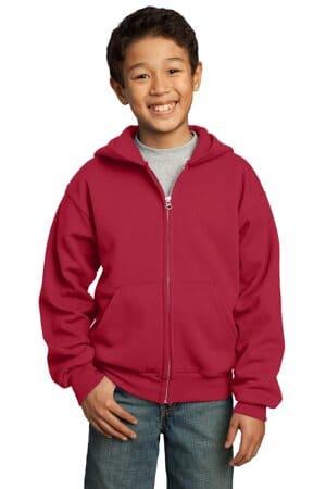 PC90YZH port & company-youth core fleece full-zip hooded sweatshirt