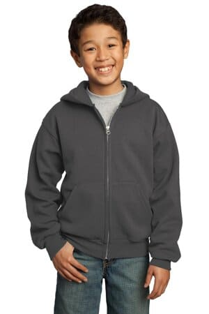port & company-youth core fleece full-zip hooded sweatshirt pc90yzh