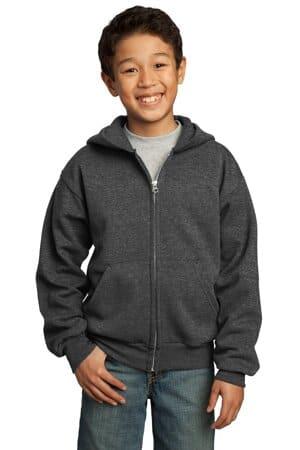 port & company-youth core fleece full-zip hooded sweatshirt pc90yzh