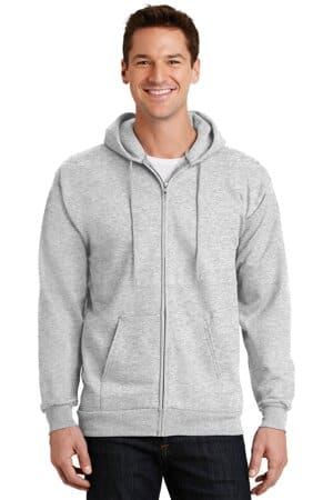 port & company-essential fleece full-zip hooded sweatshirt pc90zh