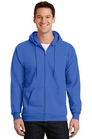 port & company-essential fleece full-zip hooded sweatshirt pc90zh
