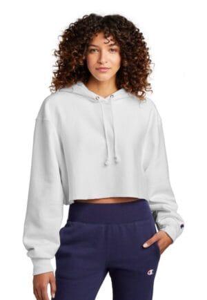 RW01W champion women's reverse weave cropped cut-off hooded sweatshirt
