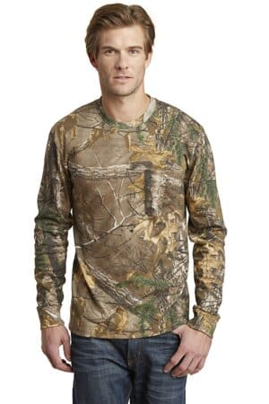 russell outdoors realtree long sleeve explorer 100% cotton t-shirt with pocket s020r