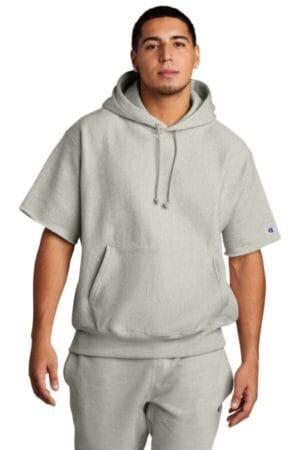 S101SS champion reverse weave short sleeve hooded sweatshirt
