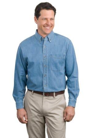 S600 port authority long sleeve denim shirt