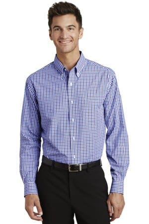 port authority long sleeve gingham easy care shirt s654