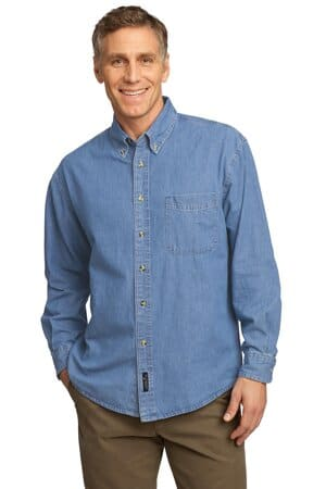 port & company-long sleeve value denim shirt sp10