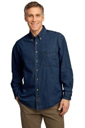 port & company-long sleeve value denim shirt sp10