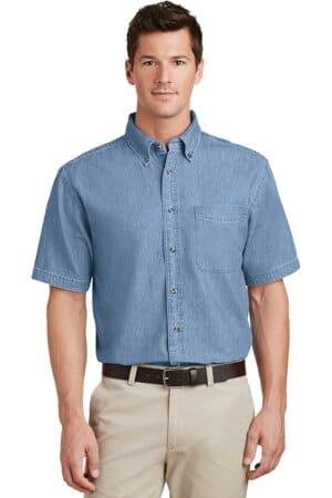 port & company-short sleeve value denim shirt sp11