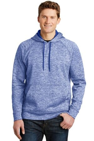 sport-tek posicharge electric heather fleece hooded pullover st225
