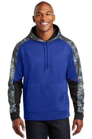sport-tek sport-wick mineral freeze fleece colorblock hooded pullover st231