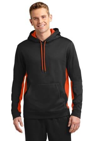 sport-tek sport-wick fleece colorblock hooded pullover st235