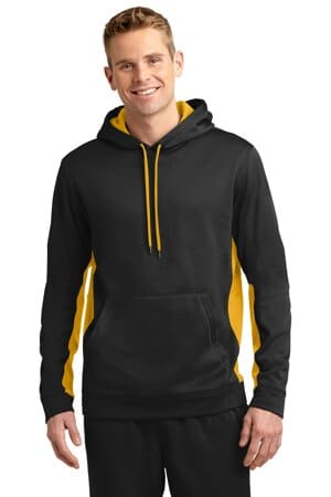 sport-tek sport-wick fleece colorblock hooded pullover st235