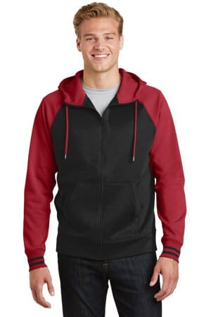 sport-tek sport-wick varsity fleece full-zip hooded jacket st236