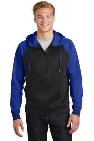sport-tek sport-wick varsity fleece full-zip hooded jacket st236