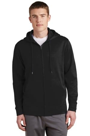 sport-tek sport-wick fleece full-zip hooded jacket st238
