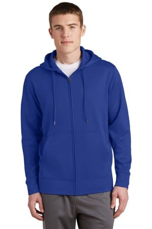 sport-tek sport-wick fleece full-zip hooded jacket st238