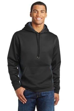 sport-tek sport-wick camohex fleece colorblock hooded pullover st239