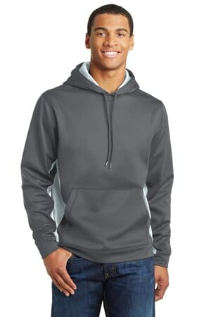 sport-tek sport-wick camohex fleece colorblock hooded pullover st239