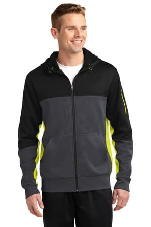 sport-tek tech fleece colorblock full-zip hooded jacket st245
