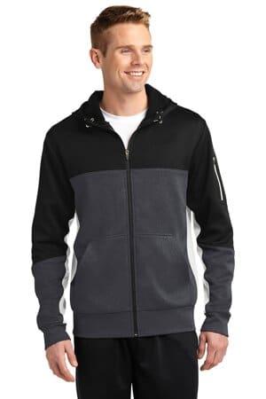 sport-tek tech fleece colorblock full-zip hooded jacket st245