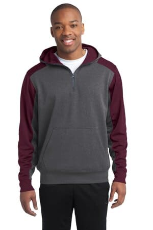 sport-tek tech fleece colorblock 1/4-zip hooded sweatshirt st249