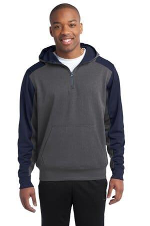 sport-tek tech fleece colorblock 1/4-zip hooded sweatshirt st249