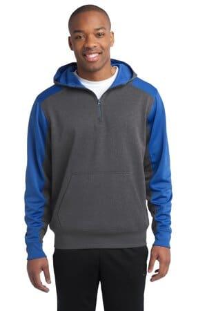 ST249 sport-tek tech fleece colorblock 1/4-zip hooded sweatshirt