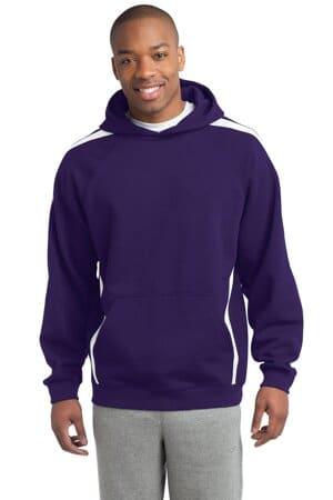 sport-tek sleeve stripe pullover hooded sweatshirt st265