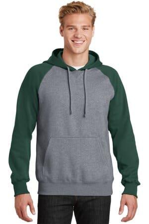 sport-tek raglan colorblock pullover hooded sweatshirt st267