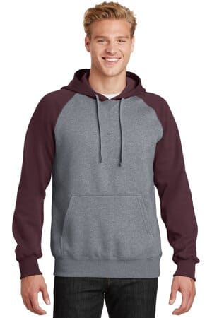 ST267 sport-tek raglan colorblock pullover hooded sweatshirt