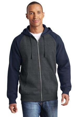 sport-tek raglan colorblock full-zip hooded fleece jacket st269