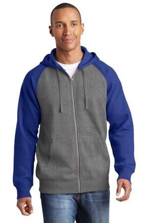 ST269 sport-tek raglan colorblock full-zip hooded fleece jacket