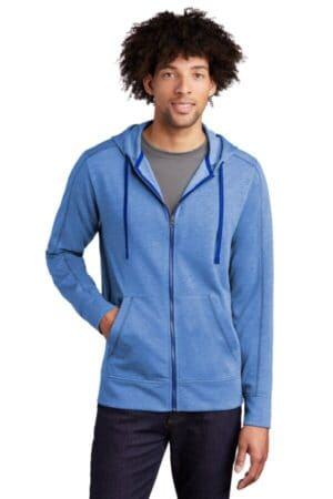 sport-tek posicharge tri-blend wicking fleece full-zip hooded jacket st293