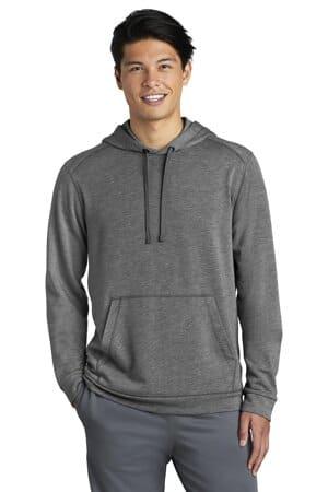 sport-tek posicharge tri-blend wicking fleece hooded pullover st296