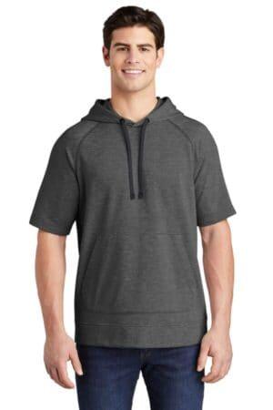 ST297 sport-tek posicharge tri-blend wicking fleece short sleeve hooded pullover