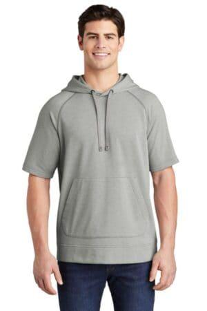 sport-tek posicharge tri-blend wicking fleece short sleeve hooded pullover st297
