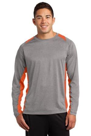 sport-tek long sleeve heather colorblock contender tee st361ls