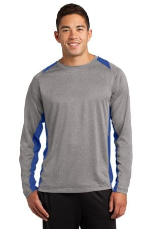 sport-tek long sleeve heather colorblock contender tee st361ls