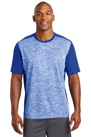 sport-tek posicharge electric heather colorblock tee st395