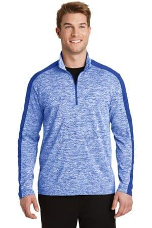 sport-tek posicharge electric heather colorblock 1/4-zip pullover st397