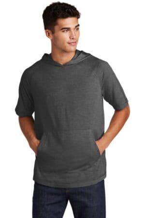 sport-tek posicharge tri-blend wicking short sleeve hoodie st404
