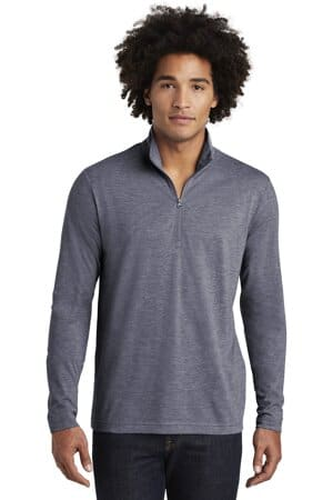 sport-tek posicharge tri-blend wicking 1/4-zip pullover st407