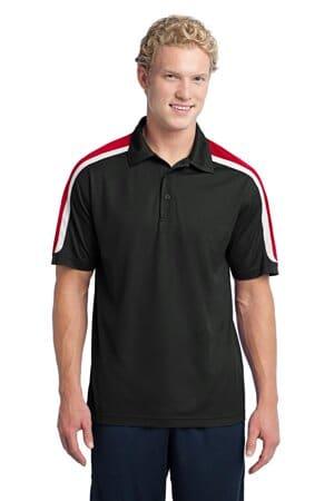 sport-tek tricolor shoulder micropique sport-wick polo st658